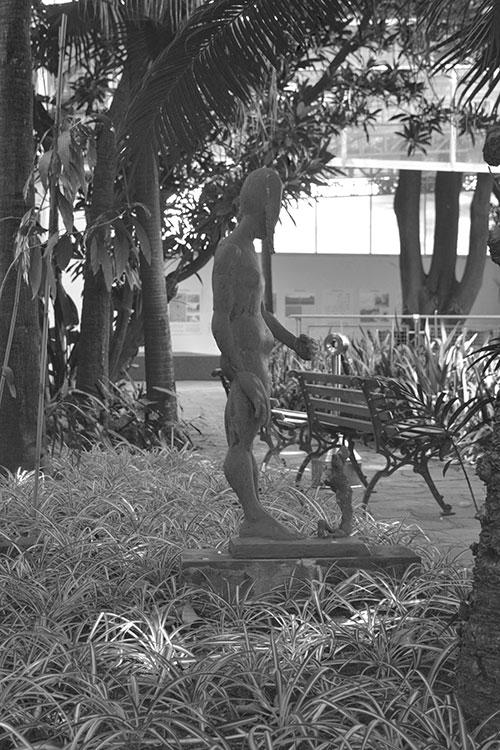 Figura 22. Escultura da coleção Ema Klabin, instalada na área arborizada do jardim. Foto: Arquivo Fundação Ema Klabin.