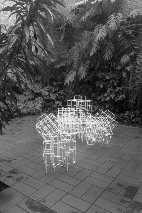 Figura 7. Trepa-trepas em miniatura instalados no jardim interno da casa-museu. Foto: Vicente de Mello