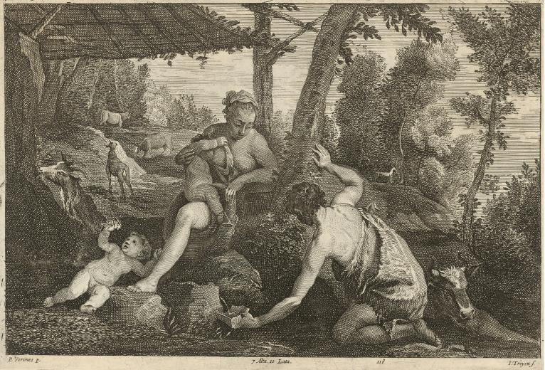 Jan van Troyen, cópia de David Teniers. Adão e Eva depois da expulsão do paraíso, 1673. Gravura em metal, 18,4 x 28,4 cm. Galeria Nacional da Eslováquia.