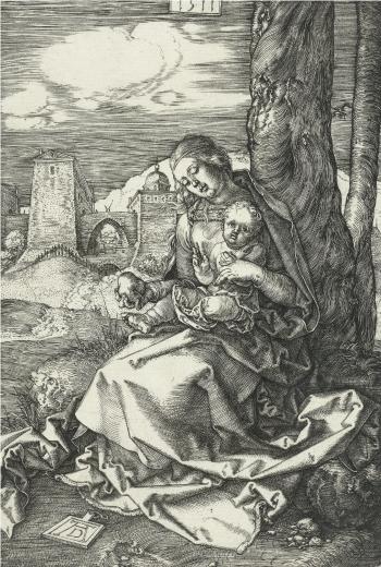 Albrecht Dürer. Madona da Pera, 1511. Gravura em metal, 16,0 x 10,7 cm. Rijksmuseum, Amsterdã.