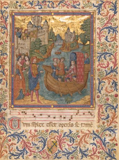 Falsificador Espanhol. A chegada da noiva, c. 1900. Pintura sobre pergaminho, 47,5 x 37,0 cm. Casa Museu Ema Klabin. Frente.