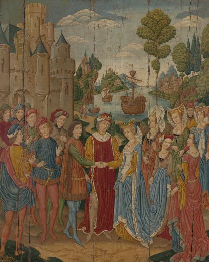 Falsificador Espanhol. O Casamento de Santa Úrsula, c. 1900. Óleo sobre madeira, 77,5 x 62,3 cm. Morgan Library & Museum, Nova York.