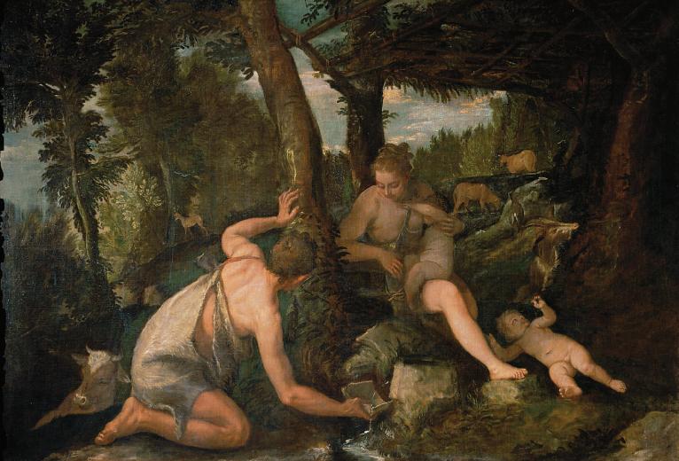 Paolo Veronese e ateliê. Adão e Eva depois da expulsão do paraíso, c. 1588/90. Óleo sobre tela, 124 x 174,5 cm. Kunshistorisches Museum, Viena