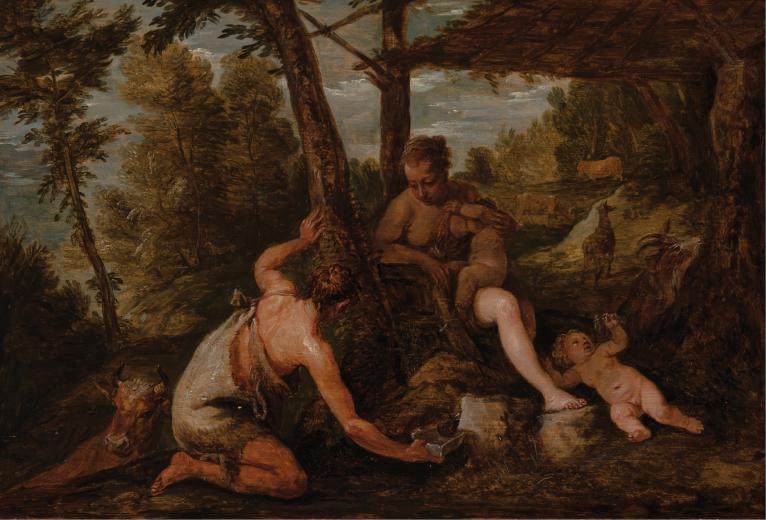 David Teniers, cópia de Paolo Veronese. Adão e Eva depois da expulsão do paraíso, c. 1660. Óleo sobre madeira, 21,5 x 30,7 cm. Casa Museu Ema Klabin