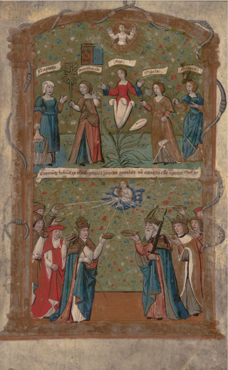 Membro do Grupo de 1520. Espetáculo na Porta dos Pintores, c. 1520. Pintura sobre pergaminho, 26,0 x 16,0 cm. Casa Museu Ema Klabin.