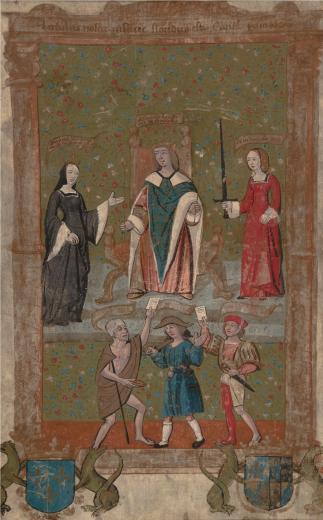 Membro do Grupo de 1520. Espetáculo na Porta do Palácio, c. 1520. Pintura sobre pergaminho, 26,0 x 16,0 cm. Casa Museu Ema Klabin.