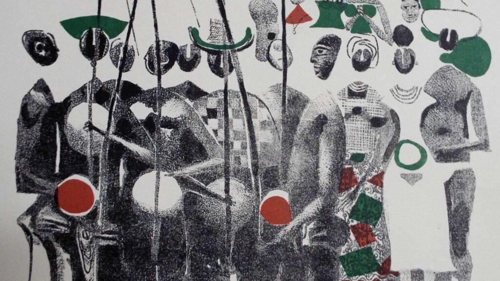 Carybé. Grupo tocando berimbau, século XX, litografia em cores, Coleção Ema Klabin