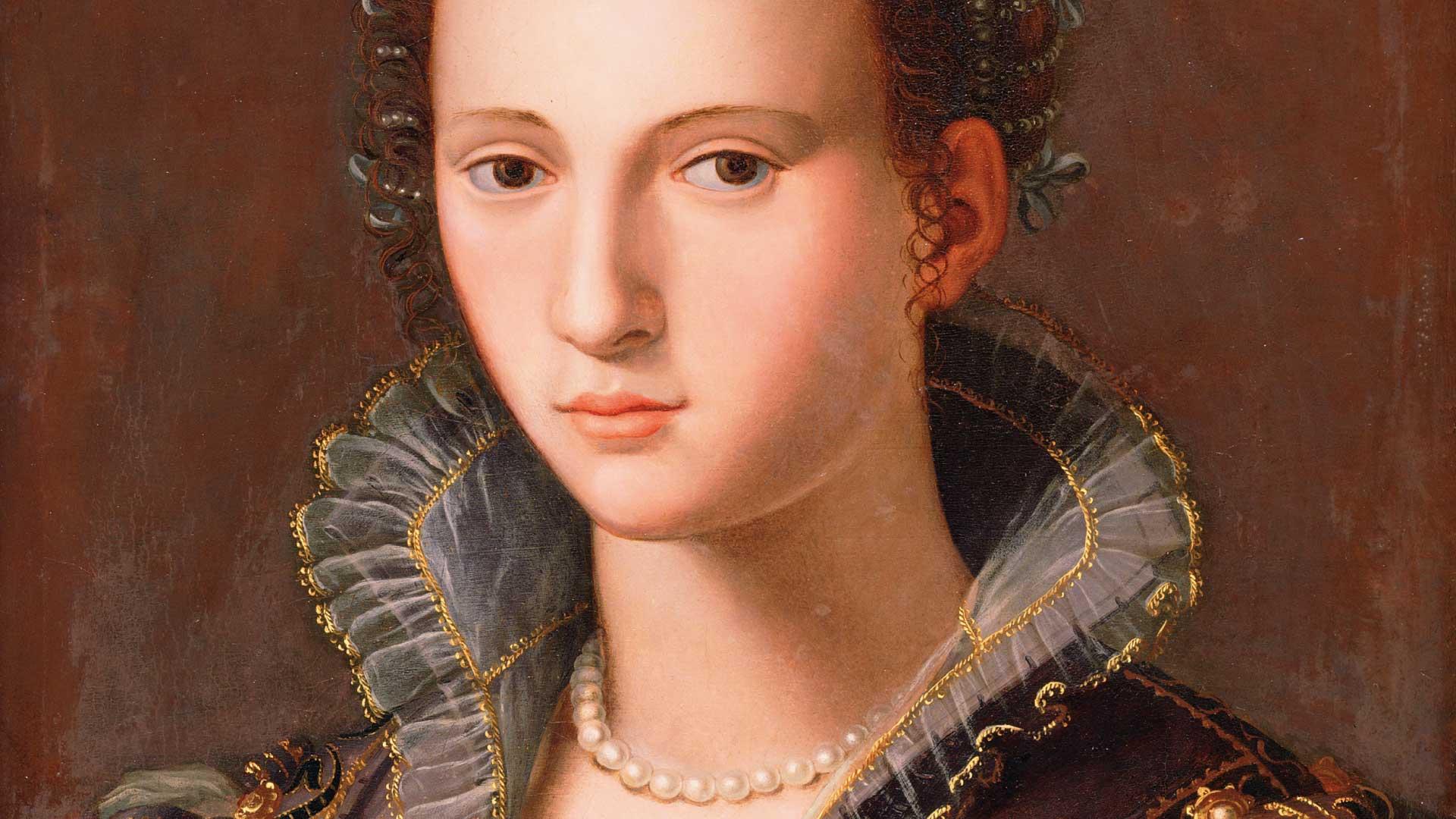 Retrato de Dama Florentina, Alessandro Allori e ateliê, séc XVI, óleo sobre madeira, Coleção Ema Klabin